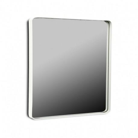 Miroir mural carre cadre metal blanc 50 x 50 cm versa 20850004 for Miroir mural metal