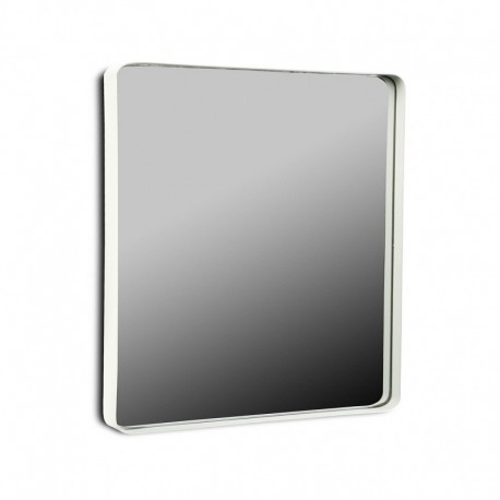 Miroir mural carre cadre metal blanc 50 x 50 cm versa 20850004 for Miroir cadre blanc