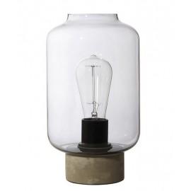 Lampe de table épurée verre fumé béton gris Frandsen Column 16 cm