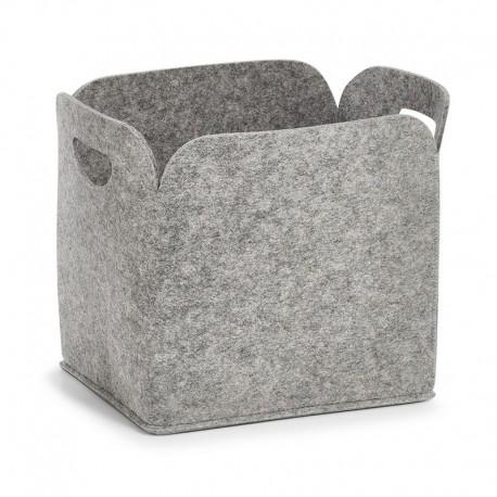 Panier de rangement design en feutrine grise Zeller