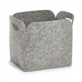 Grande corbeille rangement feutrine grise Zeller