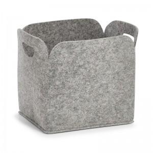 Grande corbeille de rangement en feutrine grise zeller 14368