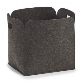 Grand panier de rangement design en feutrine gris foncé Zeller