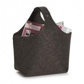 Corbeille porte-revues en feutrine gris foncé Zeller