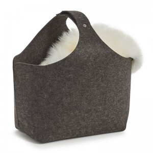 grand panier design en feutrine gris anthracite zeller 14373