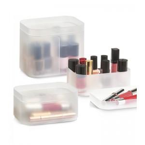 boites de rangement pour cosmetiques empilable plastique translucide zeller
