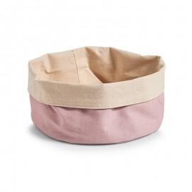 corbeille a pain en coton rose beige zeller 18025