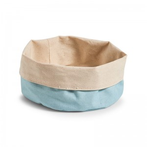 Corbeille en tissu coton bleu menthe crème Zeller D 20 cm