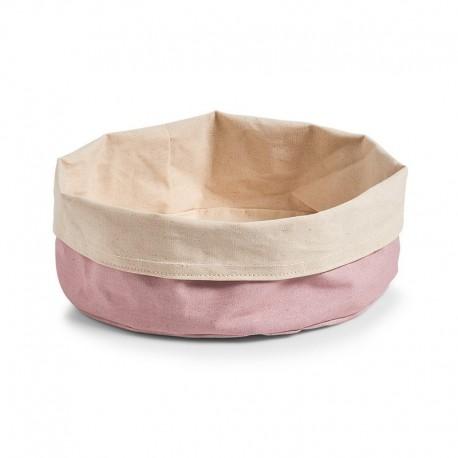 Grande corbeille en tissu coton rose crème Zeller D 25 cm