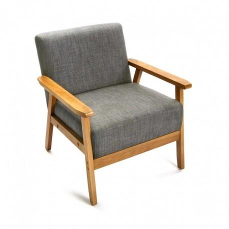 fauteuil vintage retro lin gris clair et bois versa 19880520