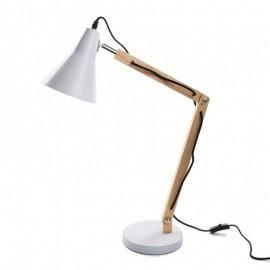 lampe de bureau design scandinave bois metal blanc versa 20960028