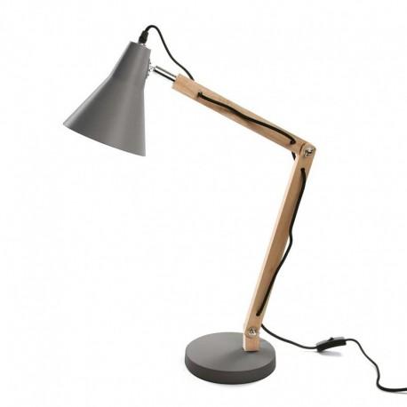 Lampe de bureau design bois métal gris Versa