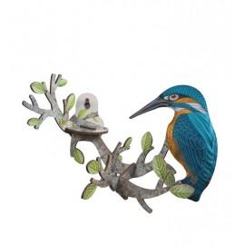 Oiseau décoration murale martin-pêcheur bois Miho Go Fishing