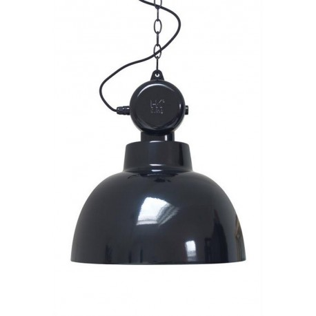 Grande suspension industrielle métal noir brillant HK Living Factory L