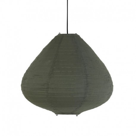 Suspension lanterne tissu coton vert kaki HK Living