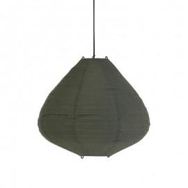 Suspension lampion tissu coton vert kaki HK Living D 50 cm