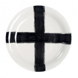 assiette de service design blanche croix noire hk living D 43 cm