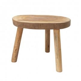 Table basse ronde tranche de tronc de bois de manguier HK Living