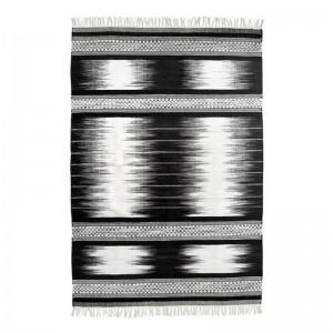 Tapis noir et blanc en laine tissée à la main HK Living Kelim 120 x 180 cm