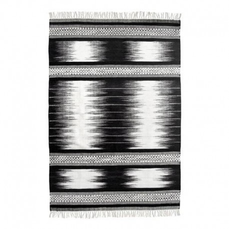 hk living tapis noir et blanc en laine tisse a la main kelim TAP0865