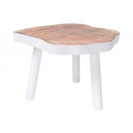 Table basse tronc d'arbre brut manguier blanc HK Living tree table D 65 cm