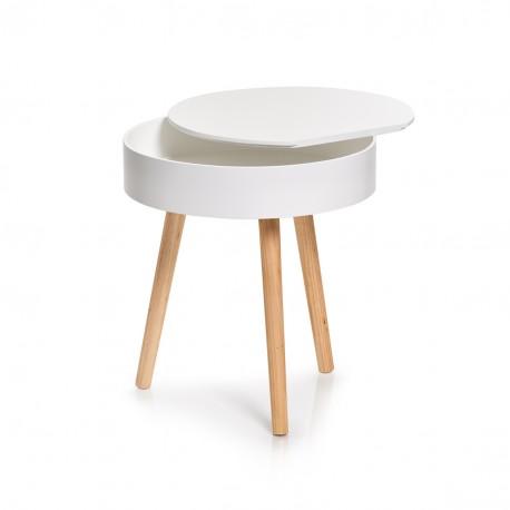 Table Basse Ronde Blanche Bois Avec Rangement Zeller 17008 Kdesign