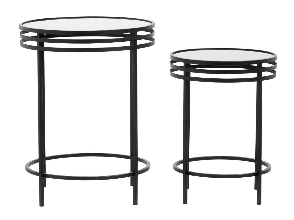 Table Basse Ronde Art Deco nordal tables basses rondes style art deco metal noir miroir 19988 - kdesign