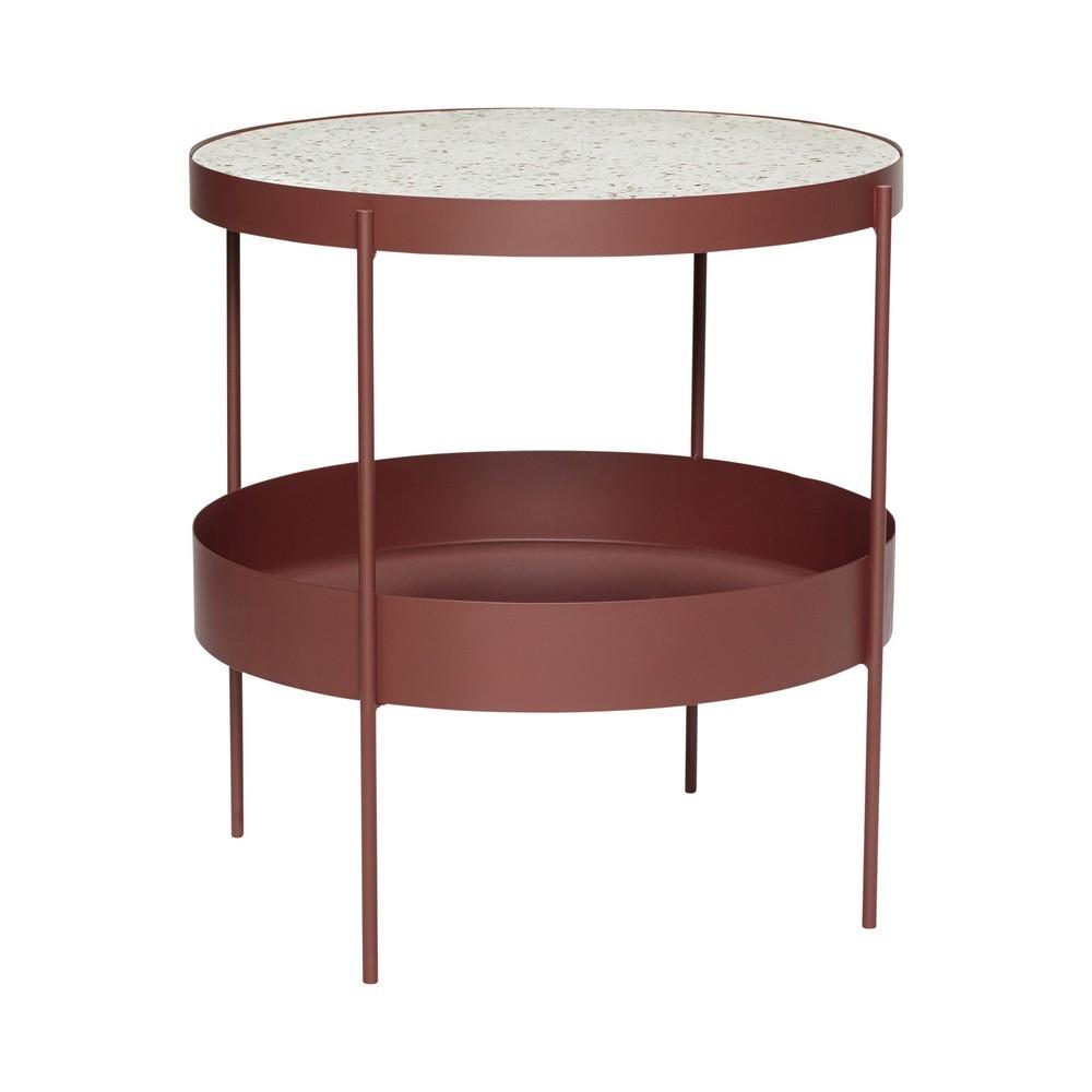 Hubsch Table Basse Ronde Metal Rouge Terrazzo Blanc 990814