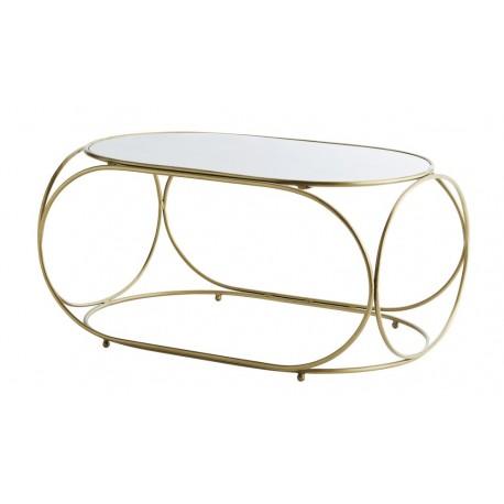Madam Stoltz Table Basse Ovale Laiton Marbre Blanc Style Retro