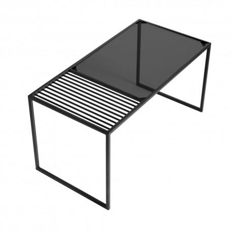 Table Basse Design Rectangulaire Metal Noir Verre Muubs Denver